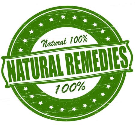 Selo com remédios naturais texto para dentro, ilustração do vetor Ilustração