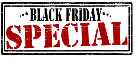 especial: Stamp with text black Friday special inside, vector illustration Illustration