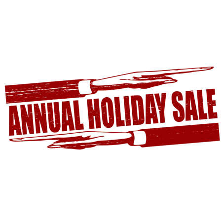 revel: Stamp with text annual holiday sale inside, vector illustration