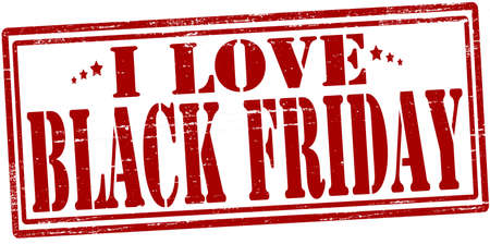 Stamp with text i love black Friday inside, vector illustration
