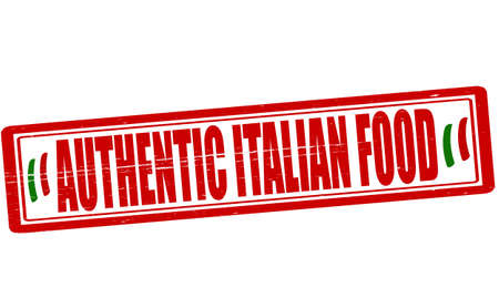 Stamp with text authentic Italian food inside, vector illustration