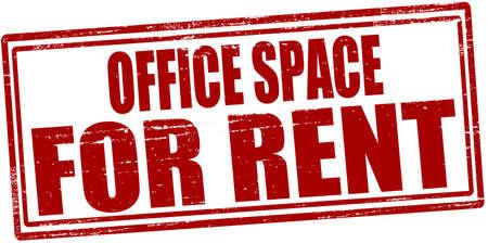Selo com espaço de escritório texto para alugar dentro, ilustração vetorial
