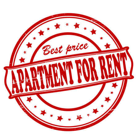 tenancy: Stamp with text apartment for rent inside, illustration
