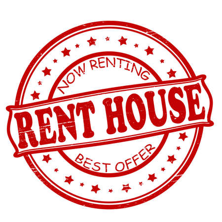 tenancy: Stamp with text rent house inside, illustration
