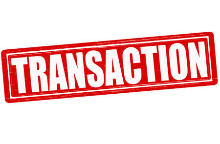 dealings: Stamp with word transaction inside