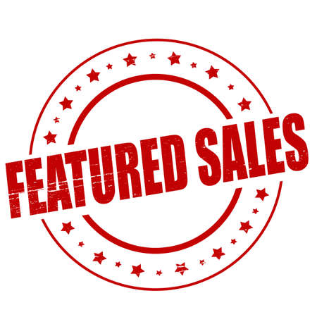 featured: Stamp with text featured sales inside