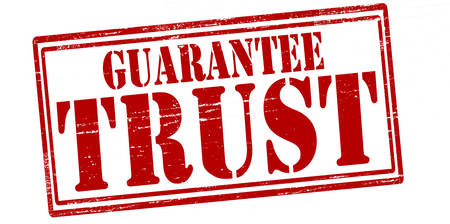assure: Stamp with text guarantee trust inside Illustration