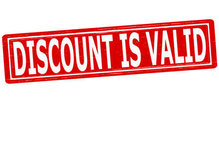 valid: Stamp with text discount is valid inside, vector illustration