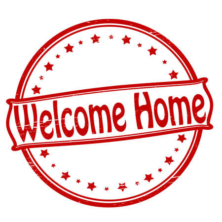 Stamp with text welcome home inside,vector illustration 矢量图像