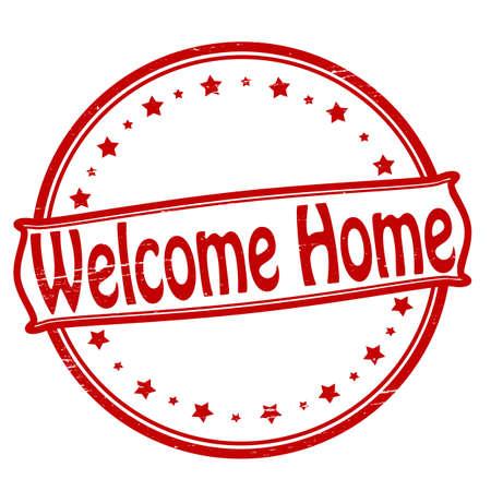 Stempel met de tekst welkom thuis binnen, vector illustratie