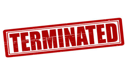 terminated: Stamp with word terminated inside, vector illustration