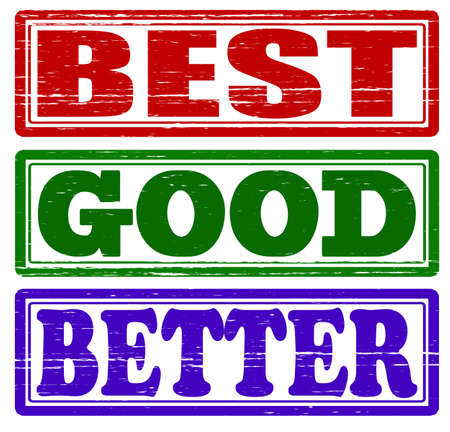 better: Set of stamps with words best, good and better inside, vector illustration