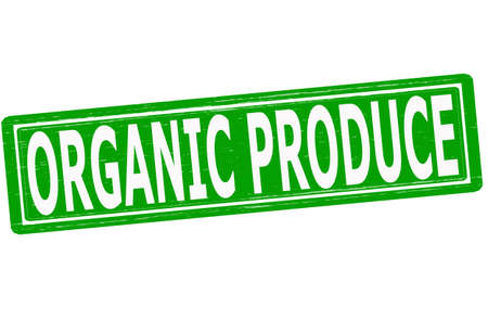 Stamp with text organic produce inside, vector illustration