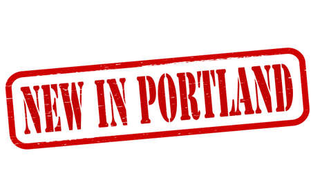 Stamp with text new in Portland inside, vector illustration Vector