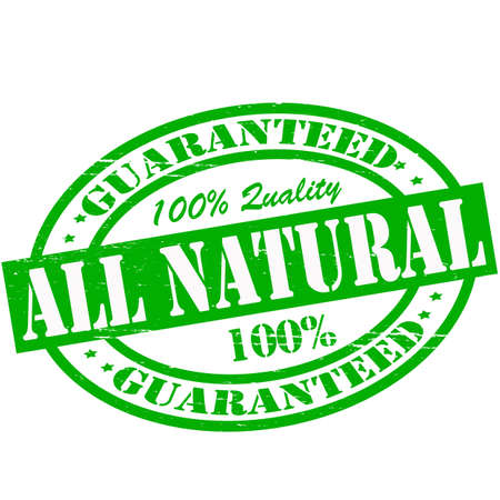 lifelike: Stamp with text all natural inside, vector illustration