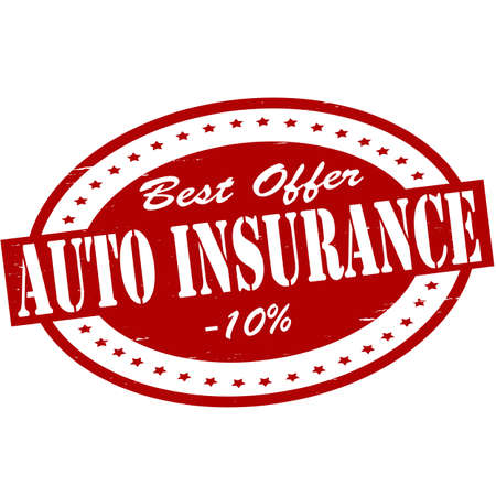 ensuring: Stamp with text auto insurance inside, vector illustration