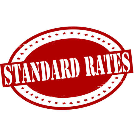 Stamp with text standard rates inside, vector illustration