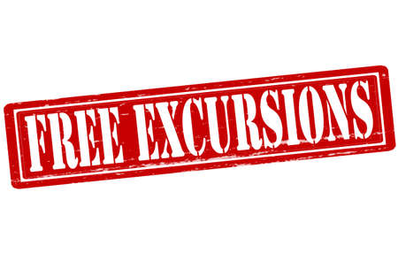 excursions: Stamp with text free excursions inside, vector illustration