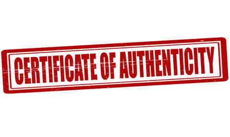 authenticity: Stamp with text certificate of authenticity inside, vector illustration Illustration