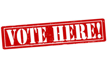 vote here: Stamp with text vote here inside, vector illustration
