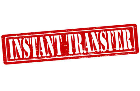 transference: Stamp with text instant transfer inside, vector illustration