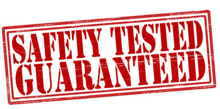 certainty: Stamp with text safety tested guaranteed inside, vector illustration