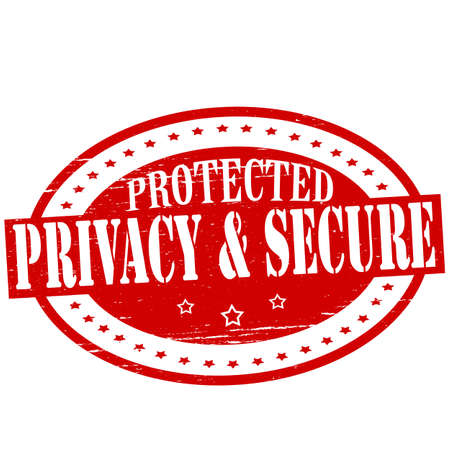 shielded: Stamp with text privacy and secure inside, vector illustration