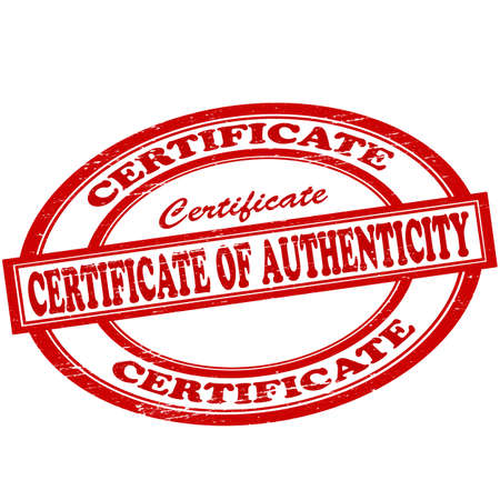 originality: Stamp with text certificate of authenticity inside, vector illustration Illustration