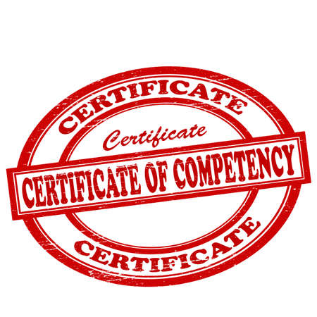 competency: Stamp with text certificate of competency inside, vector illustration