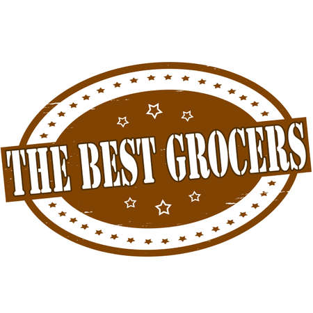 grocer: Stamp with text the best grocers inside, vector illustration
