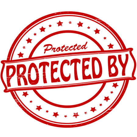 shielded: Stamp with text protected by inside, vector illustration Illustration