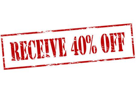 텍스트가있는 도장은 내부에서 40 퍼센트의 받침을받습니다.