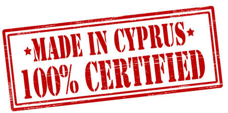 Stamp with text made in Cyprus one hundred percent certified inside, vector illustration
