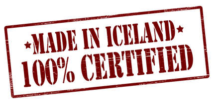 Stamp with text made in Iceland one hundred percent certified inside, vector illustration Illustration