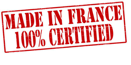 Stamp with text made in France one hundred percent certified inside, vector illustration
