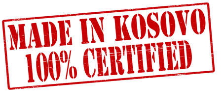 tipsy: Stamp with text made in Kosovo one hundred percent certified inside, vector illustration