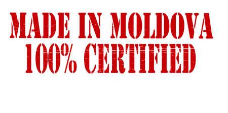 Selo com texto feito na Moldávia cem por cento certificada dentro, ilustração vetorial