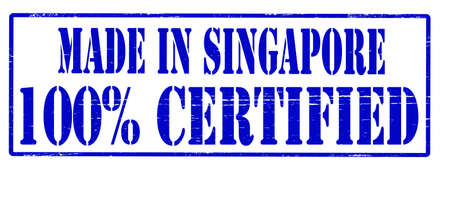 Stamp with text made in Singapore one hundred percent certified inside, vector illustration Stock Vector - 30478564