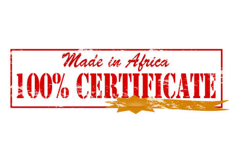 Rubber stamp with text made in Africa one hundred percent certificate inside, vector illustration Vector