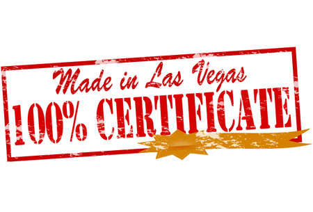 broun: Rubber stamp with text made in Las Vegas one hundred percent certificate inside, vector illustration