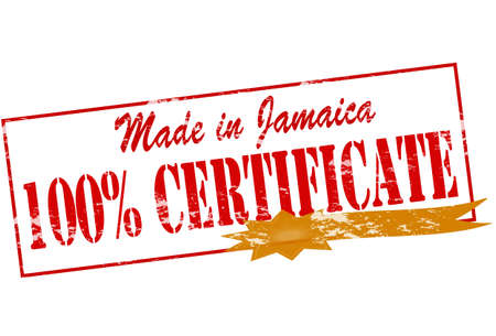 Rubber stamp with text made in Jamaica one hundred percent certificate inside, vector illustration Vector