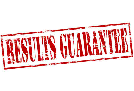 surety: Rubber stamp with text results guarantee inside, vector illustration