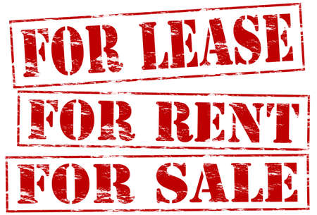 tenancy: Rubber stamps with texts for lease, for rent and for sale inside, vector illustration