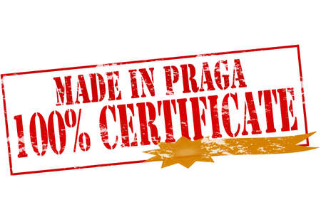 praga: Rubber stamp with text made in Praga one hundred percent certificate inside, vector illustration