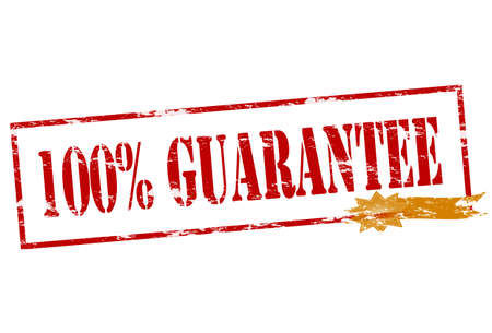 surety: Rubber stamp with text one hundred percent guarantee inside, vector illustration