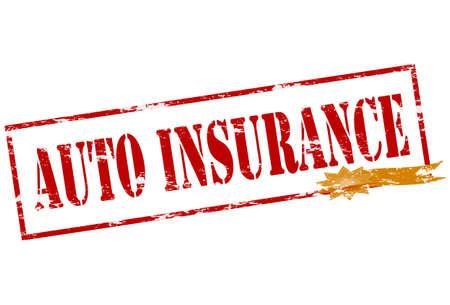 reassurance: Sello de goma con el interior de seguro de auto texto, ilustraci�n vectorial