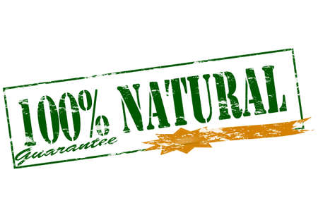 surety: Rubber stamp with text one hundred percent natural inside Illustration