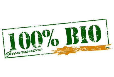 surety: Timbro di gomma con il testo cento per cento bio all'interno Vettoriali