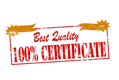 attestation: Rubber stamp with text best quality one hundred percent certificate inside