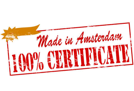 broun: Rubber stamp with text made in Amsterdam one hundred percent certificate inside Illustration